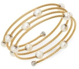 Alor Classique 1.6MM White Round Freshwater Pearl, 18K Yellow Gold & Stainless Steel Bracelet