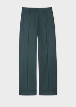 Paul Smith Women's Dark Green Wool Flannel Wide Leg Trousers