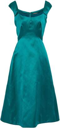 Zac Posen Pleated Duchesse-satin Midi Dress