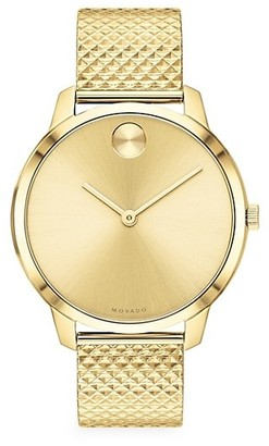 Movado BOLD Light Yellow Gold Ion-Plated Stainless Steel Mesh Bracelet Watch