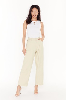 Nasty Gal Womens Searched Far and Wide-Leg Denim Jeans - White - 10, White