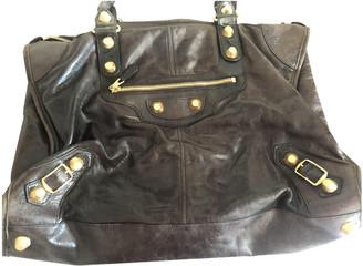Balenciaga Weekender Brown Leather Handbags