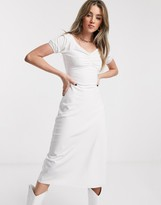 Jagger & Stone midi bardot milkmaid dress with ruched front