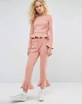 I Love Friday Cropped Pants With Ruffle Hem Co-Ord