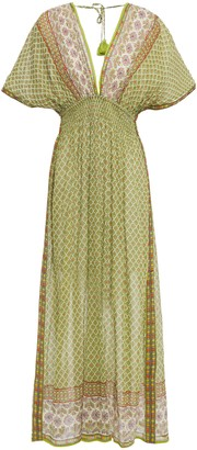 Tory Burch Shirred Printed Cotton-voile Maxi Dress