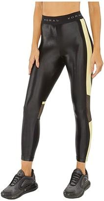 Koral Emblem Infinity High-Rise Cropped Leggings (Black/Pina) Women's Casual Pants