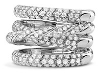 David Yurman Pave Flex Four Row Ring with Diamonds in 18K White Gold