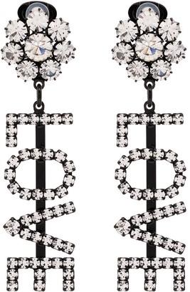 Ashley Williams Love crystal clip-on earrings