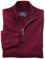 Charles Tyrwhitt Burgundy cotton cashmere zip neck jumper