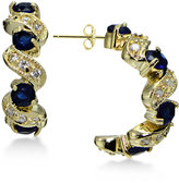 Giani Bernini Blue and White Cubic Zirconia Swirl Hoop Earrings in 18k Gold-Plated Sterling Silver, Only at Macy's
