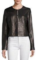 Bagatelle Collarless Cropped Pebbled Leather Jacket, Black