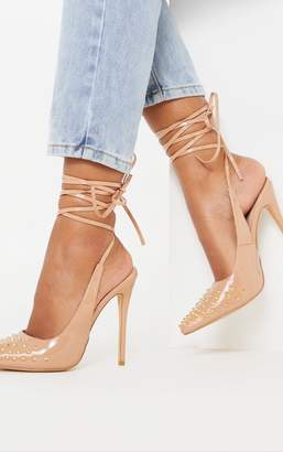PrettyLittleThing Nude Spike Ankle Tie Court Shoe