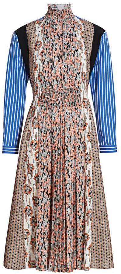 Prada Mixed Print Pleated Front Midi Dress