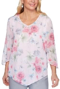 Alfred Dunner Petite Primrose Garden Floral-Print Shimmer Top