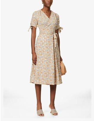 NEVER FULLY DRESSED Zsa Zsa metallic floral crepe midi dress