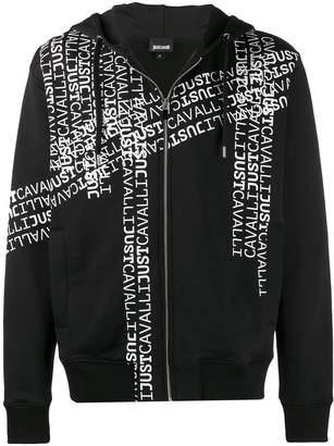 Just Cavalli logo print zipped hoodie