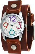 Nemesis #BGB109M Women's Exclusive Collection Crazy Numbers Dial Wide Leather Cuff Band Watch