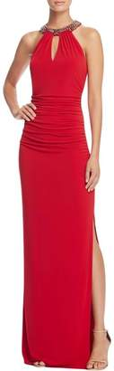 Laundry by Shelli Segal Women's Beaded Neck Band Gown