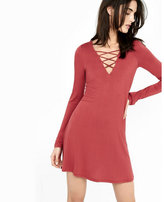Express lace-up v-neck long sleeve trapeze dress