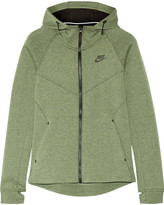Nike Tech Fleece Cotton-blend Jersey Hooded Top - Army green