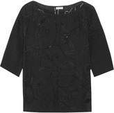 Suno Embellished cutout silk top