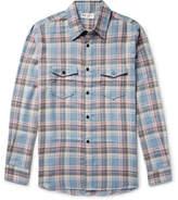 Saint Laurent Checked Brushed-twill Shirt - Light blue
