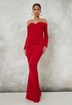 Missguided Red Slinky Ruched Fishtail Maxi Dress