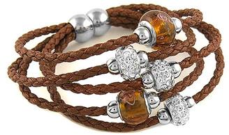 Swarovski Yeidid International Women's Bracelets Brown - Brown Leather Beaded Bracelet With Crystals