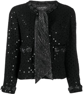 Chanel Pre Owned 2000's Sequin Embroidery Tie-Neck Jacket