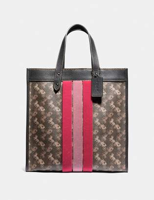 Coach Field Tote With Horse And Carriage Print And Varsity Stripe