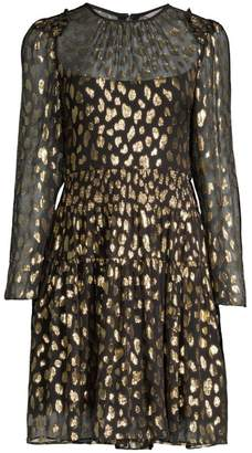 Rebecca Taylor Metallic Leopard-Print Long-Sleeve Dress