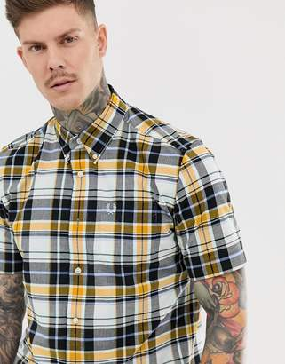 Fred Perry short brushed check short sleeve shirt in blue