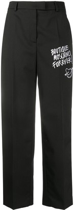 Boutique Moschino Embroidered Logo Wide Trousers