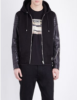 Givenchy Hooded neoprene and leather jacket
