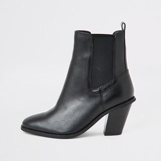 River Island Black western high heel boots