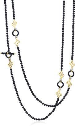 Miseno Sea Leaf Onyx Necklace with Diamonds
