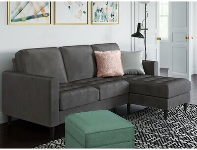"""Thumbnail for your product : CosmoLiving by Cosmopolitan Strummer 81.63"""" Wide Velvet Reversible Sofa & Chaise"""