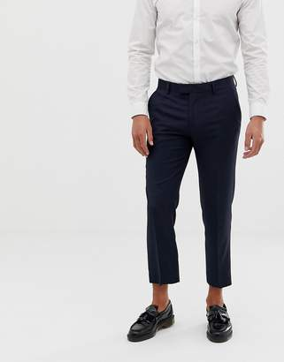 Farah Skinny Cropped Flannel Trousers-Navy