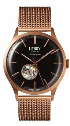 Henry London Mens Skeleton Automatic Watch with Stainless Steel Strap HL42-AM-0286