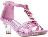 Generation Y Kids Heel Sandals T-Strap Flower Glitter Rhinestone Clear Low Heels Pink SZ 2 Youth