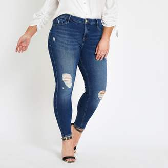 River Island Womens Plus mid Blue ripped Molly jeggings