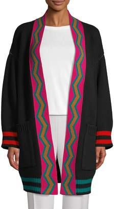 M Missoni Oversized Intarsia Virgin-Wool Cardigan Sweater