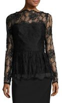 Oscar de la Renta Long-Sleeve Lace Peplum Blouse