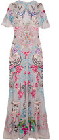 Temperley London Long Sail Embellished Embroidered Tulle And Crepe De Chine Gown - Gray