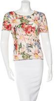 John Galliano Embellished Floral Print Top