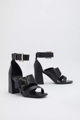 Nasty Gal Womens Buckle Down Faux Leather Heeled Sandals - Black - 7, Black