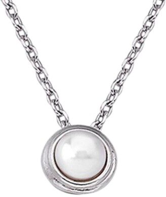 Majorica 5MM White Round Man-Made Pearl & Sterling Silver Pendant Necklace