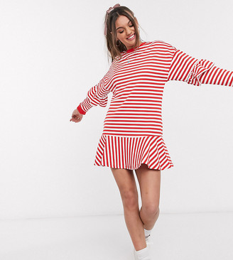 Asos DESIGN Petite ruffle sweat mini dress in red and white stripe