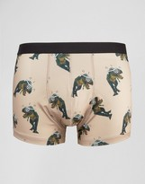 Asos Trunks With Dinosaur Print In Microfibre