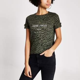 River Island Womens Khaki animal printed turn-up sleeve T-shirt